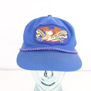 80s Proud to Be American Roped Snapback Hat Blue